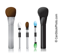 Set of makeup brushes on white background
