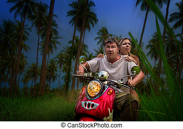 romantic couple on a motorbike