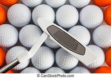 Golf putter and balls