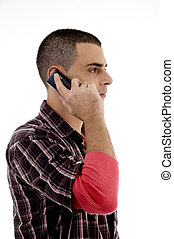 man talking on cell phone against white background