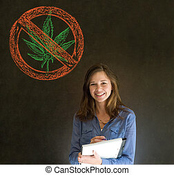 No weed marijuana woman on blackboard background