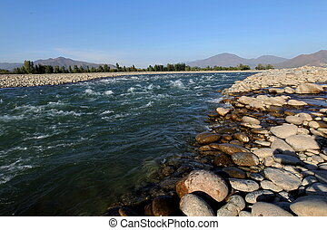 Swat Valley, Pakistan - A view of the Swat River located in...