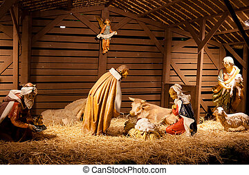 Crèche - Nativity scene is a depiction of the birth of Jesus...