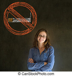 No smoking tobacco woman on blackboard background - No...