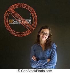 No smoking tobacco woman blackboard - No smoking tobacco...