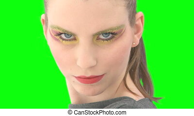 Woman with greenscreen and alpha matte - Woman in front of...