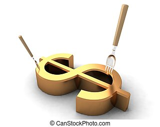 dollar sign with forks - 3D dollar sign with forks