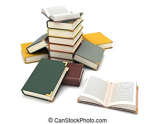 scattered books - 3D scattered books on an isolated white...