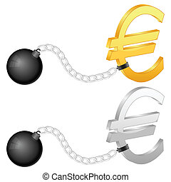 shackles with euro symbol - Shackles with euro symbol on a...