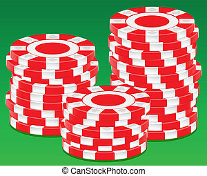 stack chips - Stack chips on green background. Vector...