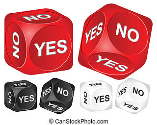 yes no dice - Yes, no dice set on white background. Vector...