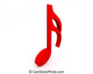 red musical notation - 3D treble clef in red color