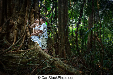 couple in love in the jungle