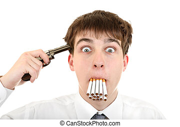 Man With Cigarettes and Gun - Shocked Young Man with the Gun...