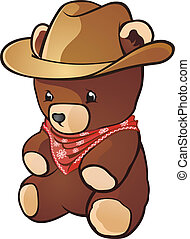Cowboy Teddy Bear Cartoon Character - A teddy bear stuffed...