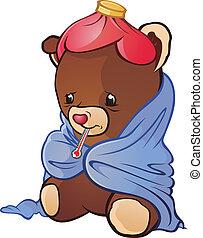 Sick Teddy Bear Cartoon Character - Teddy caught a cold A...