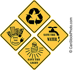 recycling and ecological set of yellow signs