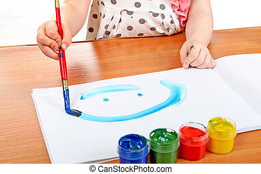 Little Girl Drawing - Little Girl draws at the nursery class