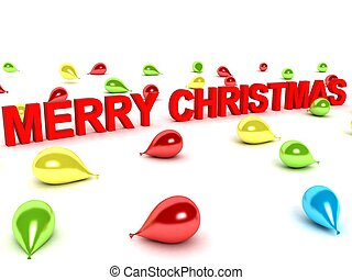 merry christmas words and balloons