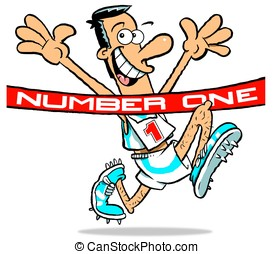 Number OneWBG - Cartoon of athlete, wearing No1 achieving...