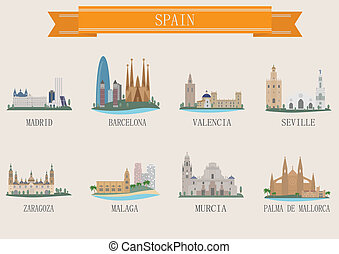 City symbol. Spain. Vector set for you design