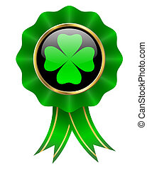 clover design - four leaves clover on shiny badge with...