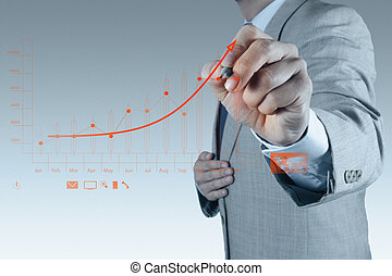 businessman hand drawing virtual chart business on touch...
