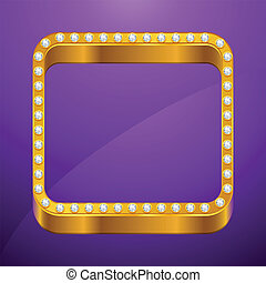Abstract background with gold frame and jewels.