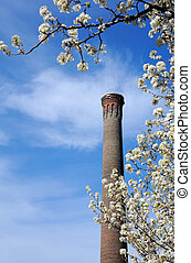 Columbia in Spring - Historic smokestack, on the University...