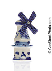 Dutch windmill in blue isolated over white