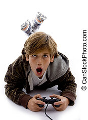 front view of surprised kid playing videogame - front view...
