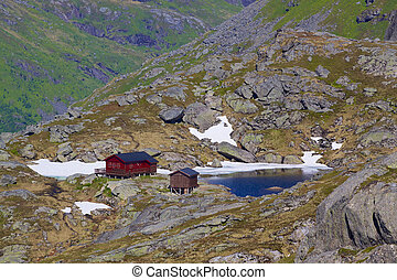 Norwegian mountain hut - Scenic norwegian mountain hut on...