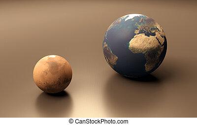 terra, Marte, planetas, em branco