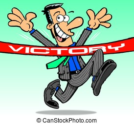 Suit. Victory - Cartoon of running, victorious, businessman,...