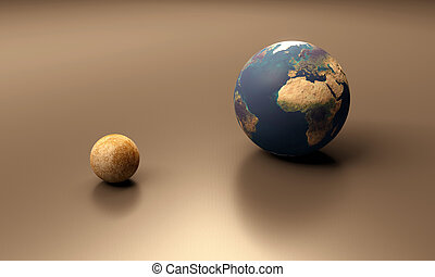 Planets Earth and Mercury blank - A rendered size-comparison...