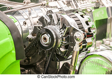 vehicle alternator - chromed vehicle alternator in a hot-rod...