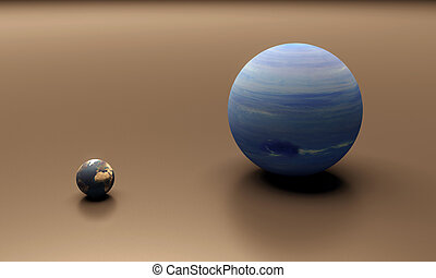 Planets Earth and Neptune blank - A rendered size-comparison...