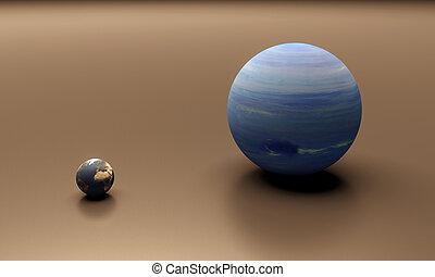 planetas, terra, Netuno, em branco