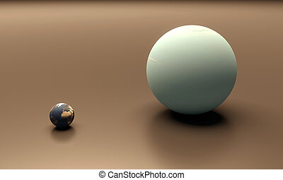Planets Earth and Uranus blank - A rendered size-comparison...