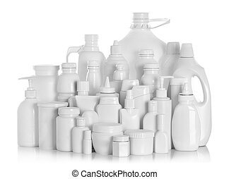 still life portrait of a group of product packaging isolated...