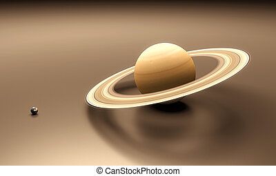 Planets Earth and Saturn blank - A rendered size-comparison...