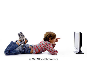 side pose of boy watching screen on an isolated white...