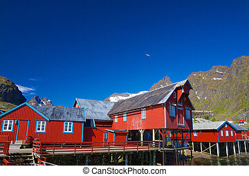 Norwegian fishing factory - Traditional old red fishing port...