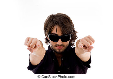 handsome male pointing with both hands