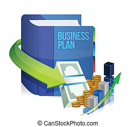 business plan book, money and graph illustration design over...