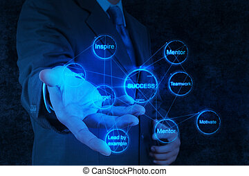 businessman hand shows gear business success chart concept