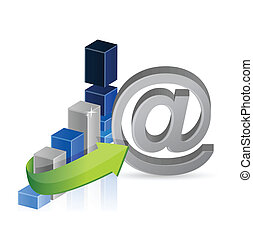 business graph and online sign