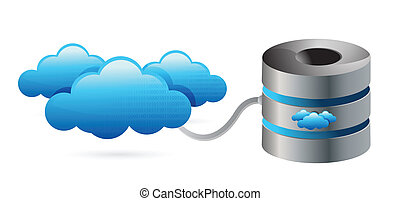 Network server connecting with clouds illustration design...