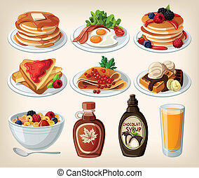 Classic breakfast cartoon set with pancakes, cereal, toasts...