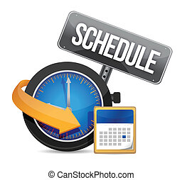 Schedule icon with clock illustration design over a white...